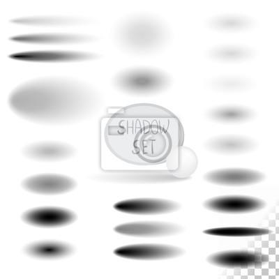 Sticker Ovale Schatten gesetzt. Vektor-Design-Elemente.