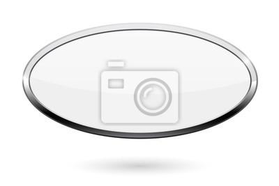 Sticker Ovale weiße Taste. Web-Symbol mit Chromrahmen