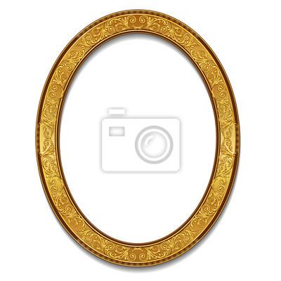 Sticker Ovaler rahmen goldfarben mit schatten