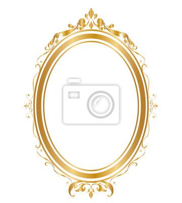 Sticker Ovaler Rahmen und Grenzen Goldener Rahmen auf weißem Hintergrund, Thai-Muster, Vektor-Illustration