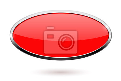 Sticker Ovaler roter Knopf mit Chromrahmen