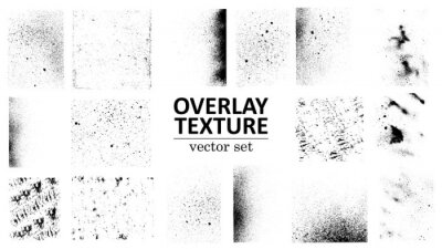 Sticker Overlay texture set. Different types of texture stamps (damaged, paint, old, concrete and other). Vector collection urban grunge overlay. Paint texture with spray effect and drop ink splashes. Vector