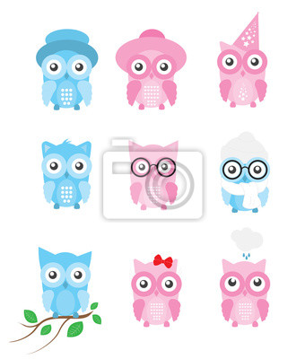 Owl Cartoon Illustration, Vector Set with 9 separated cute cartoon owls isolated on white background