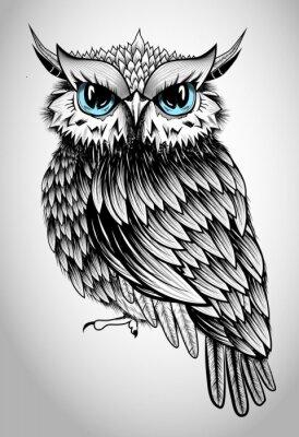 Sticker Owl Lady - schöne Vektor-Illustration