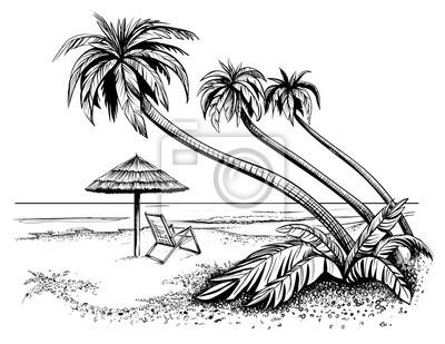 Sticker Ozean oder Meer Strand mit Palmen, Skizze. Schwarz-Weiß-Vektor-Illustration der Insel Ufer mit Regenschirm und Chaiselongue. Hand gezeichneten Seeansicht.