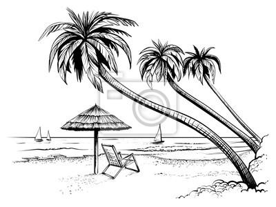 Sticker Ozean oder Meer Strand mit Palmen, Sonnenschirm, Chaiselongue und Yachten. Hand gezeichneten Seeansicht.