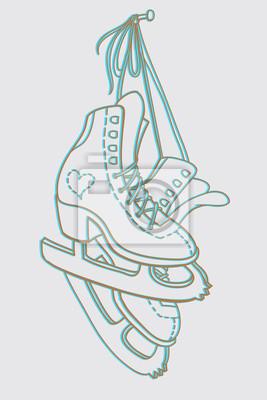 Paar Schlittschuhe hängen am Nagel. Line Art Zeichnung.