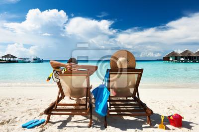 Sticker Paare auf einem Strand