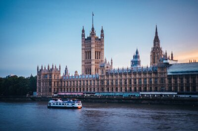 Palace of Westminster in London, calm evening, UK