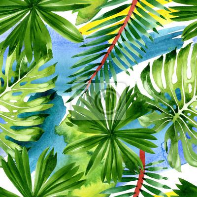 Palm beach tree leaves jungle botanical. Watercolor background illustration set. Seamless background pattern.