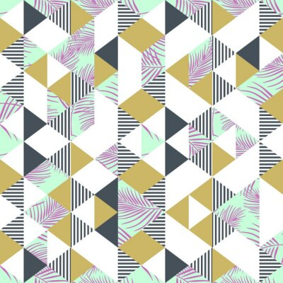 Palm leaves colorful seamless pattern with triangle