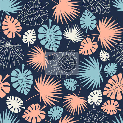 palm leaves tropical seamless background, leafy summer kids and nursery fabric textile print