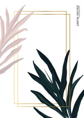 Sticker Palm pink and green in pastel colors, soft foliage leaves hand drawn doodle graphics background, nature wedding botanical decoration. Tender 3d realistic design with gold luxury elemets