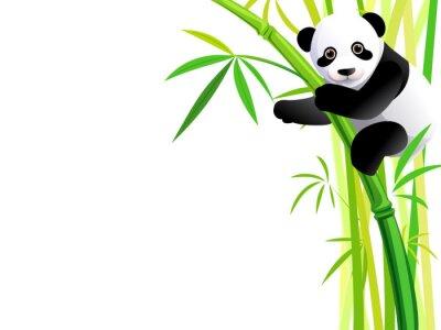 Sticker Panda auf Bambus