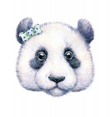 Sticker Panda auf weißem Hintergrund. Aquarellzeichnung. Kinder Illustration. Handarbeit