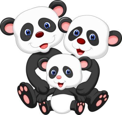 Sticker Panda Bär Familie Karikatur