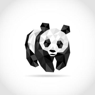 Sticker Panda im Polygon-Stil. Niedrigen Poly-Design in Dreiecken