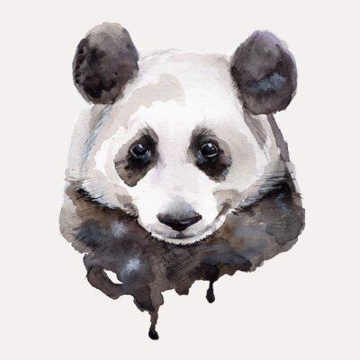 Sticker Panda.Watercolour Abbildung Vektor
