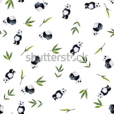 Sticker Pandas und Bambusmuster auf weißem Hintergrund. Handgemaltes Aquarell