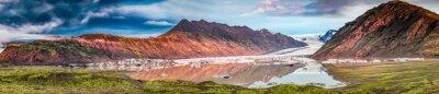 Sticker Panorama der schönen Gletscher und See bei Sonnenaufgang in Island