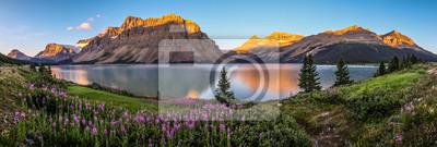 Sticker Panorama der Sonnenaufgang am Bow Lake, Banff Nationalpark