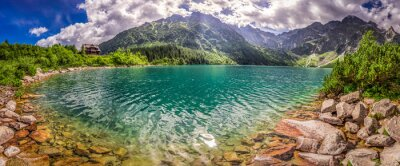 Sticker Panorama des Sees in der Tatra Berge bei Sonnenaufgang