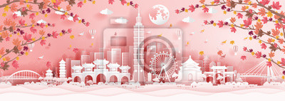 Panorama postcard of world famous landmarks of Taipei in autumn season with falling maples leaves in paper cut style vector illustration