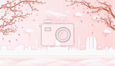 Panorama travel postcard, poster, tour advertising of world famous landmarks of Abu Dhabi, spring season with blooming flowers in tree