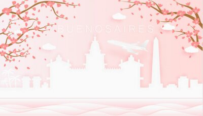 Panorama travel postcard, poster, tour advertising of world famous landmarks of Buenos Aires, spring season with blooming flowers in tree