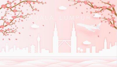 Panorama travel postcard, poster, tour advertising of world famous landmarks of Kuala Lumpur, spring season with blooming flowers in tree