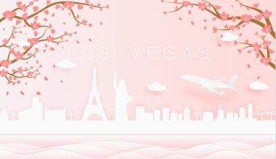 Panorama travel postcard, poster, tour advertising of world famous landmarks of Las Vegas, spring season with blooming flowers in tree