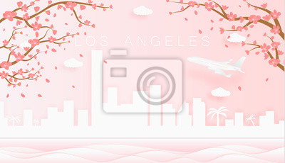 Panorama travel postcard, poster, tour advertising of world famous landmarks of Los Angeles, spring season with blooming flowers in tree