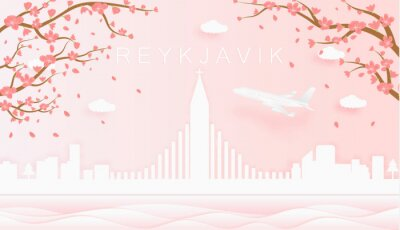 Panorama travel postcard, poster, tour advertising of world famous landmarks of Reykjavík, spring season with blooming flowers in tree