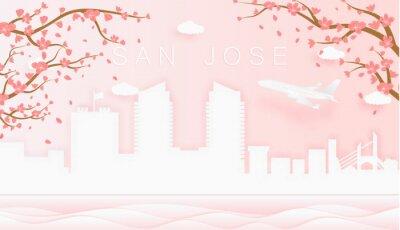 Panorama travel postcard, poster, tour advertising of world famous landmarks of San Jose, spring season with blooming flowers in tree