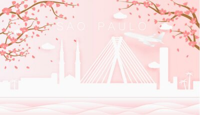 Panorama travel postcard, poster, tour advertising of world famous landmarks of Sao Paulo, spring season with blooming flowers in tree