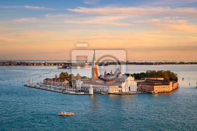Panoramic aerial view at San Giorgio Maggiore island, Venice, Italy