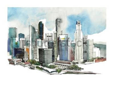 Sticker Panoramische Singapur-Stadtaquarellskizze. Skyline Silhouette der Stadt. Hand zeichnen mit Architektur. Bunte Illustration der Geschäftsstadt für Postkarten, T-Shirts,