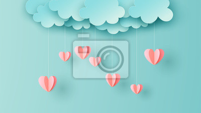 Paper art of Heart shape hanging from the sky on pastel background. Graphic design for Valentine' day. paper cut and craft style. vector, illustration.