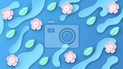 Paper art of spring background with flowers, leaf, water droplet and place for text space. paper cut and craft style. vector, illustration.