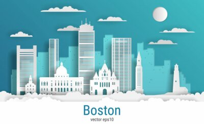 Paper cut style Boston city, white color paper, vector stock illustration. Cityscape with all famous buildings. Skyline Boston city composition for design.