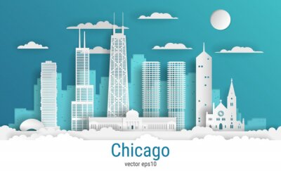 Paper cut style Chicago city, white color paper, vector stock illustration. Cityscape with all famous buildings. Skyline Chicago city composition for design.