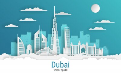 Paper cut style Dubai city, white color paper, vector stock illustration. Cityscape with all famous buildings. Skyline Dubai city composition for design.