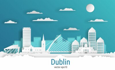 Paper cut style Dublin city, white color paper, vector stock illustration. Cityscape with all famous buildings. Skyline Dublin city composition for design.