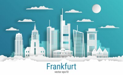 Paper cut style Frankfurt city, white color paper, vector stock illustration. Cityscape with all famous buildings. Skyline Frankfurt city composition for design.