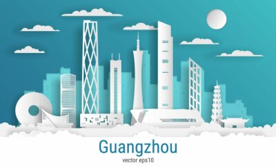 Paper cut style Guangzhou city, white color paper, vector stock illustration. Cityscape with all famous buildings. Skyline Guangzhou city composition for design.