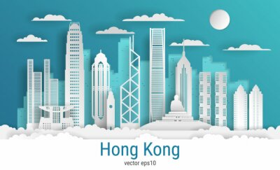 Paper cut style Hong Kong city, white color paper, vector stock illustration. Cityscape with all famous buildings. Skyline Hong Kong city composition for design.