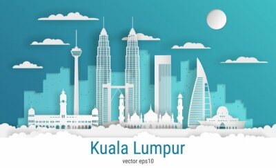 Paper cut style Kuala Lumpur city, white color paper, vector stock illustration. Cityscape with all famous buildings. Skyline Kuala Lumpur city composition for design.
