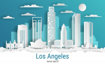 Paper cut style Los Angeles city, white color paper, vector stock illustration. Cityscape with all famous buildings. Skyline Los Angeles city composition for design.