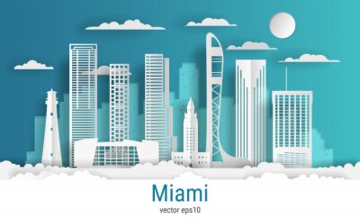 Paper cut style Miami city, white color paper, vector stock illustration. Cityscape with all famous buildings. Skyline Miami city composition for design.