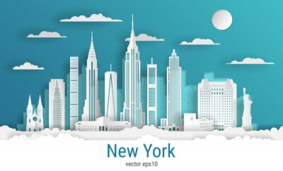 Paper cut style New York city, white color paper, vector stock illustration. Cityscape with all famous buildings. Skyline New York city composition for design.
